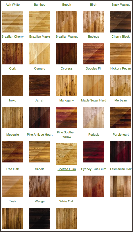 Craftsman custom flooring types hardwood sanding for Different colors of hardwood floors